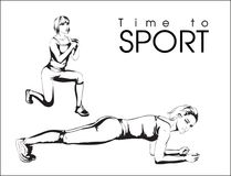 Time to sport. A young athlete performs exercises. Sport and a healthy lifestyle Royalty Free Stock Photo