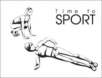 Time to sport. A young athlete performs exercises. Sport and a healthy lifestyle Stock Image