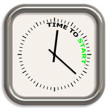 Time to start. A square analog clock with words TIME TO START on its face Stock Images