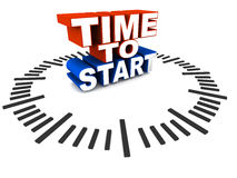 Time to start. Word time to start on a clock dial on floor, words in red and blue, concept of starting out on a business, career or process Royalty Free Stock Photography
