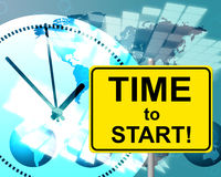 Time To Start Represents At The Moment And Currently. Time To Start Indicating At The Moment And At The Moment royalty free illustration