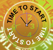 Time To Start Represents At The Moment And Initiate. Time To Start Indicating At The Moment And Now vector illustration