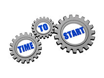 Time to start in silver grey gears Royalty Free Stock Photography