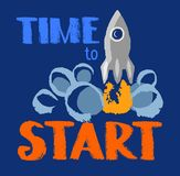 Time to start, text, missile, color image. Royalty Free Stock Image