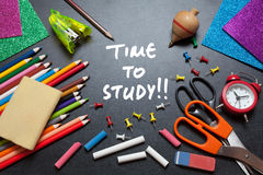 Study time stock photos royalty free stock images time to study school tools around blackboard background stock image altavistaventures Choice Image