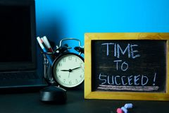Time to Succeed! Planning on Background of Working Table with Office Supplies. Business Concept Planning on Blue Background stock photography