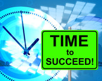 Time To Succeed Shows At The Moment And Presently. Time To Succeed Representing At Present And Triumphant stock illustration