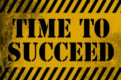 Time to succeed sign yellow with stripes. 3D rendering vector illustration