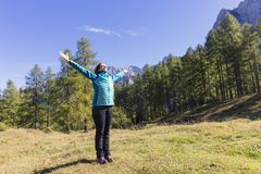 Exercising in nature. Time to take care of yourself. Exercising in nature. Outdoor activities in the fresh air royalty free stock photography