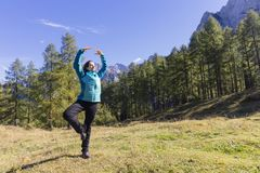 Exercising in nature. Time to take care of yourself. Exercising in nature. Outdoor activities in the fresh air Royalty Free Stock Photo