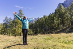 Exercising in nature. Time to take care of yourself. Exercising in nature. Outdoor activities in the fresh air stock photography