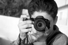 Boy with a Camera Royalty Free Stock Images