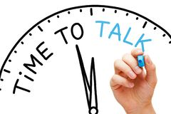 Free Time To Talk Clock Concept Royalty Free Stock Photo - 130308325