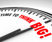 Time to Think Big Clock Creativity Innovation Brainstorming. The words Time to Think Big on a Clock to illustrate the need to support innovation and creativity royalty free illustration