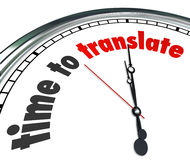 Time to Translate Language Interpret Clock Understand Different. Time to Translate words on a clock face to illustrate a need to interpret words, meaning or tone Stock Image