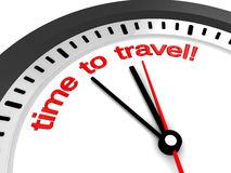 Time to travel. 3d illustration of clock with 'time to travel' sign Royalty Free Stock Photos