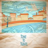 Time to travel abstract drawing card Stock Photo