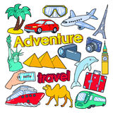 Time to Travel Adventure Doodle with Palms, Architecture and Transportation Royalty Free Stock Photos