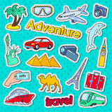 Time to Travel Adventure Doodle. Stickers, Badges with Palms, Architecture and Transportation Stock Photography