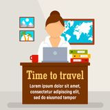 Time to travel agency concept background, flat style stock illustration