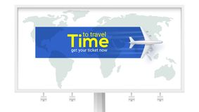 Time to travel. Air transport between countries and continents. Get your ticket now. Airplane above the earth map on. White billboard. Vector 3d illustration vector illustration