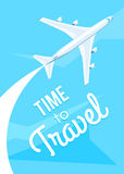 Time to travel, Airplane fly. Time to travel. Airplane fly on the blue sky. Vector illustration modern flat design on the theme of travel, vacation, adventure Stock Photo