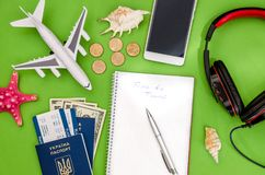 Airplane, tickets, passport and money. Time to travel - airplane, tickets, passport and money Royalty Free Stock Photography