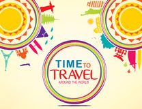 Time to Travel Around the World Colorful Vector Pop Art Stock Images