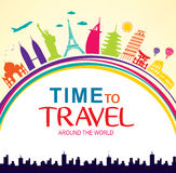 Time to Travel Around the World Vector Colorful Pop Art stock illustration