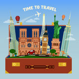 Time To Travel Banner. Suitcase Full of World Famous Places Royalty Free Stock Photos