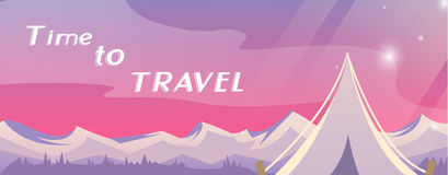 Time to travel banner vector Royalty Free Stock Photo