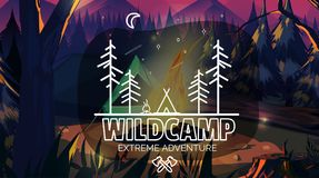 Free Time To Travel Banner Wild Camping Adventure Time. Vector Illustration,for Your Application , Project. Stock Photos - 99809463