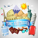 Time to Travel Blue Ribbon with famous Landmarks and Travel Objects Stock Images