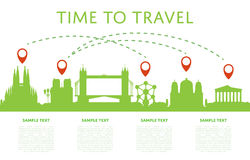 Time to travel concept with cityscape silhouette Stock Image