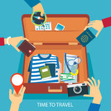 Time to travel concept flat design Stock Image