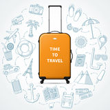 Time to travel concept illustration with realistic hand luggage suitcase Royalty Free Stock Photo