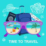 Time to travel concept, vocation, vector illustration Royalty Free Stock Photos