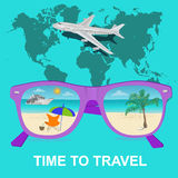 Time to travel concept, vocation, vector illustration Stock Photography