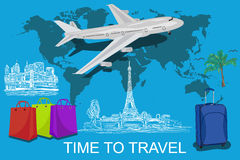 Time to travel concept, world, sketch elements, vector Stock Photos