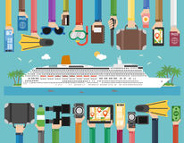 Time to travel cruise passenger liner flat design Royalty Free Stock Photo