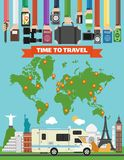 Time to travel design flat with camper,trailer and map of the earth stock illustration