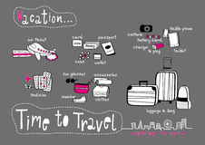 Time to Travel Doodle Dark Grey background Royalty Free Stock Image