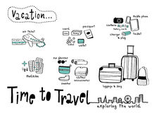 Time to Travel Doodle White background Royalty Free Stock Photography