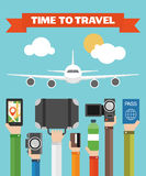 Time to travel Flat background with hand . Royalty Free Stock Photos