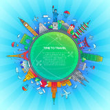 Time to Travel - flat design travel composition royalty free illustration