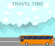 The time to travel. Flat style. The tourist bus. Stock Photos