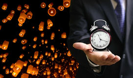 Time to travel with floating lantern event Stock Photography