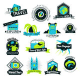 Time to Travel Hand Drawn Logos Stock Photos