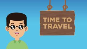 Time to travel HD animation. Time to travel wooden signpost and man with sunglasses High definition colorful animation scenes stock video