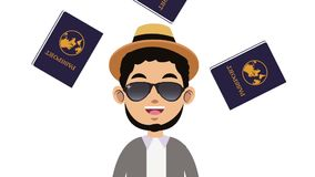 Time to travel HD animation. Young man with sunglasses over passports falling background High definition colorful animation scenes stock footage
